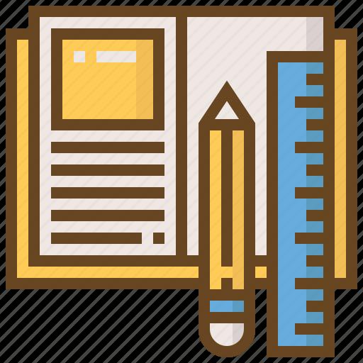 book, diploma, e-learning, education, learn, pencil, school icon