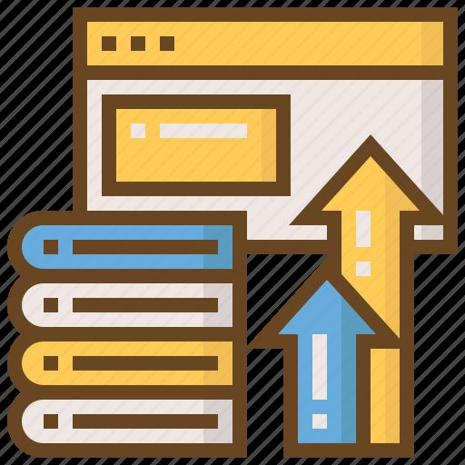 arrow, book, e-learning, education, learn, school, web icon