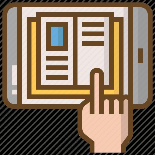 book, e-book, e-learning, education, learn, school, smartphone icon