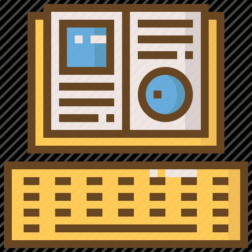 book, diploma, e-learning, education, keyboard, learn, school icon