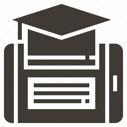 college, diploma, e-learning, education, hat, knowledge, smartphone icon