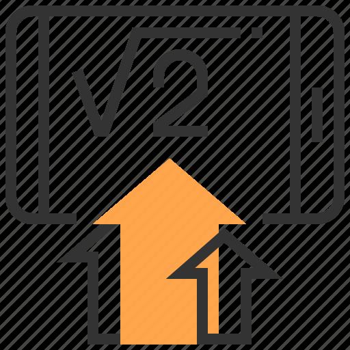 arrow, e-learning, education, formula, school, smartphone, technology icon