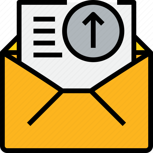 arrow, communication, email, mail, message, online, open icon