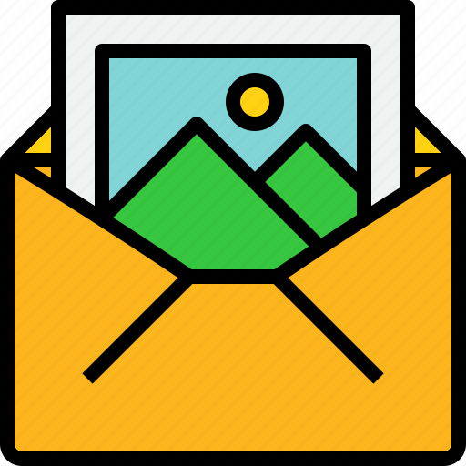 communication, email, mail, message, online, open, picture icon