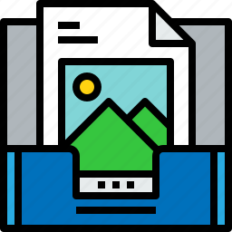 document, email, inbox, message, online, picture icon