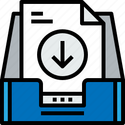 arrow, document, email, inbox, message, online icon