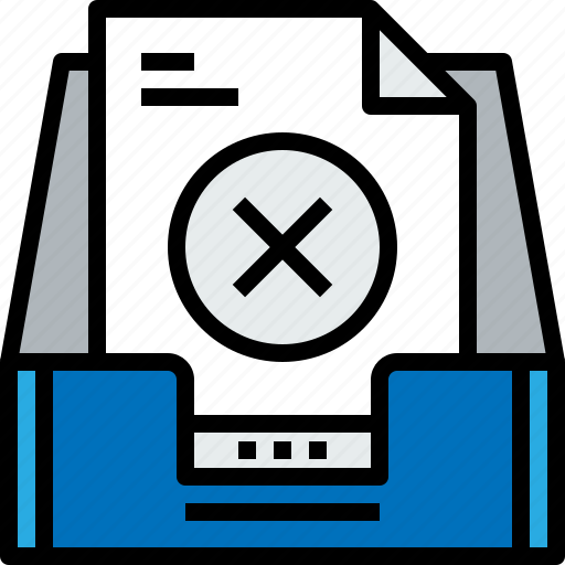 document, email, inbox, message, online, remove, x icon