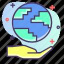 earth, globe, hand, world icon