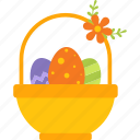basket, colorful, decoration, easter, egg icon
