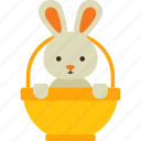 animal, basket, bunny, easter, rabbit icon