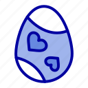 bird, decoration, easter, egg, heart icon