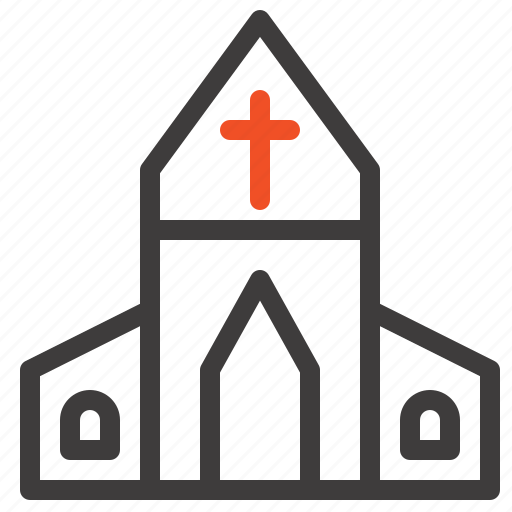 church, cross, easter, house icon