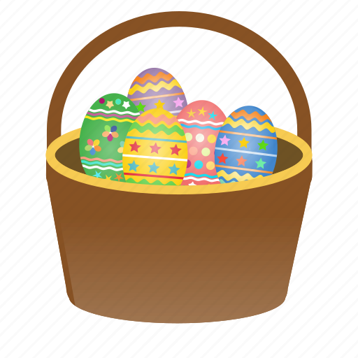 basket, decorated, easter, eggs, festival, gift, happy icon