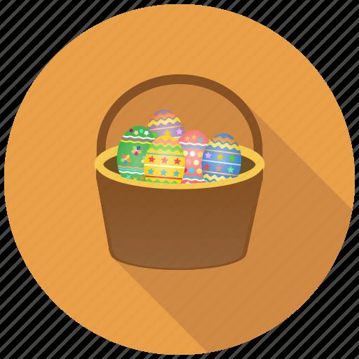 basket, celebration, christmas, decoration, easter, eggs, festival icon