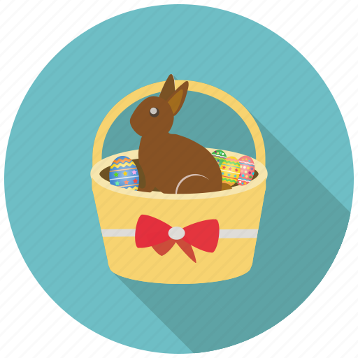 basket, bunny, chocolate, decorated, easter, eggs, festival icon