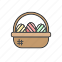 basket, bucket, easter, egg, eggs