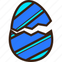 broken, chocolate, decoration, diagonal, easter, egg, stripes icon