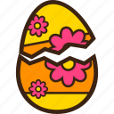 broken, chocolate, decoration, easter, egg, flower icon