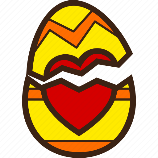 broken, chocolate, decoration, easter, egg, heart icon