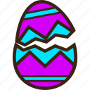 broken, chocolate, decoration, easter, egg, stripes, zigzag icon