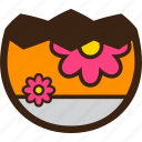broken, chocolate, decoration, easter, egg, flower, half icon