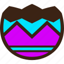 broken, chocolate, easter, egg, half, stripes, zigzag icon