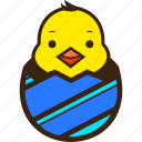chick, chocolate, diagonal, easter, egg, hatching, stripes icon