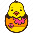 chick, chocolate, decoration, easter, egg, flower, hatching icon