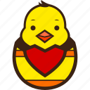 chick, chocolate, decoration, easter, egg, hatching, heart icon