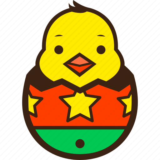 chick, chocolate, decoration, easter, egg, hatching, stars icon