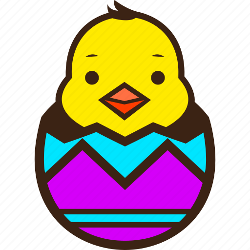 chick, chocolate, easter, egg, hatching, stripes, zigzag icon