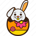chocolate, decoration, easter, egg, flower, hatching, rabbit icon