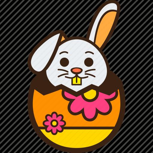 chocolate, decoration, easter, egg, flower, hatching, rabbit icon