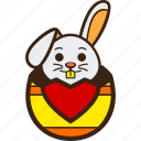 chocolate, decoration, easter, egg, hatching, heart, rabbit icon