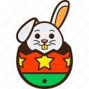chocolate, decoration, easter, egg, hatching, rabbit, stars icon