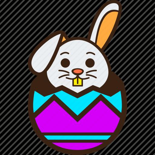 chocolate, easter, egg, hatching, rabbit, stripes, zigzag icon