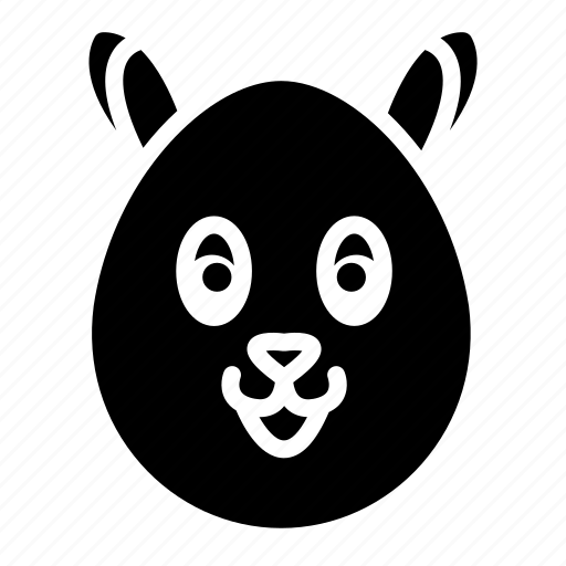 bunny face, easter, egg, paint, rabbit face icon