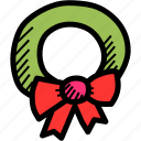 bow, christmas, decoration, easter, leaf, wreath icon