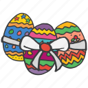 celebrate, celebration, decoration, easter, eggs, festival, ribbon icon