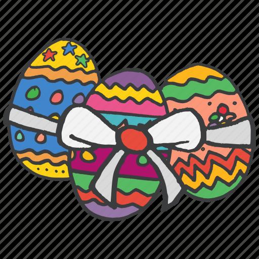 celebrate, celebration, decoration, easter, eggs, festival, ribbon icon