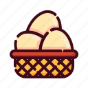 easter, egg, egg basket, happy easter, holidays, spring season, wicker icon
