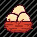 bird's nest, easter, egg, egg nest, happy easter, holidays, spring season icon