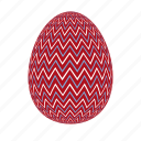 easter, easter egg, easter eggs, egg, red, zigzag icon