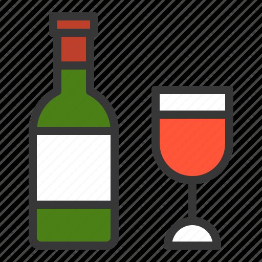 bottle, celebration, drink, easter, glass, holiday, wine icon