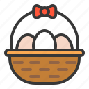 basket, celebration, easter, egg, egg basket, farming, holiday icon