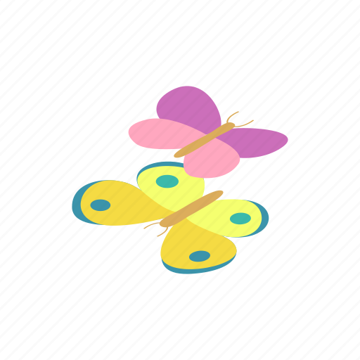 butterfly, cartoon, cute, easter, insect, isometric, spring icon