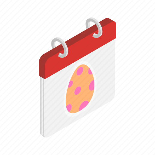 calendar, day, easter, egg, holiday, isometric, loose icon