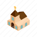 building, church, cross, easter, egg, isometric, religion icon