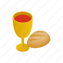 bread, christianity, communion, easter, isometric, religion, wine icon
