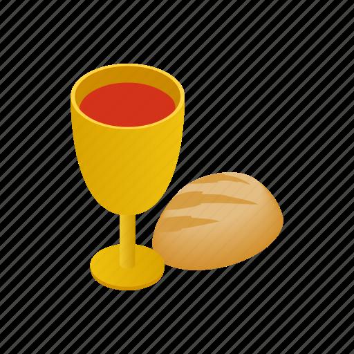 bread, christianity, communion, easter, isometric, religion, wine icon
